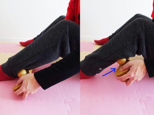 骨盤職人を持ってふくらはぎマッサージ 座位 骨盤職人を動かす